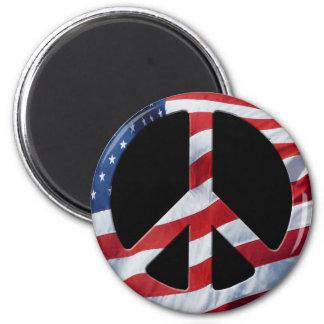 Patriotic Peace Symbol - US Flag No More War Theme 2 Inch Round Magnet