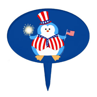 Patriotic Penguin Cake Topper