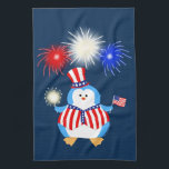 "Patriotic Penguin With Fireworks Kitchen Towel<br><div class=""desc"">Patriotic Penguin is ready to celebrate our country&#39;s next holiday under a sky full of fireworks,  with an American Flag in one flipper,  and a sparkler in the other! This is an original,  digital design by Ambsynthe.</div>"