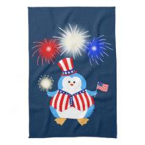 Patriotic Penguin With Fireworks Kitchen Towel