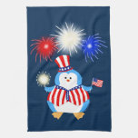 Patriotic Penguin With Fireworks Towels
