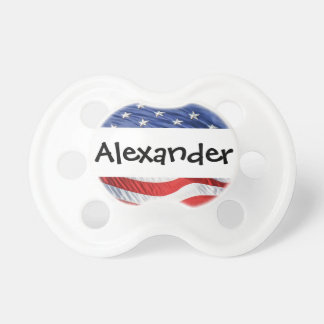 Patriotic Personalized Name Stars and Stripes USA Baby Pacifiers
