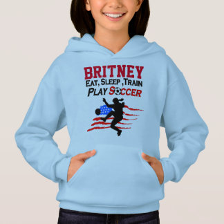 PATRIOTIC PERSONALIZED SOCCER GIRL HOODIE