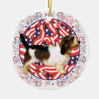 Patriotic Petit Basset Griffon Vendeen Ceramic Ornament