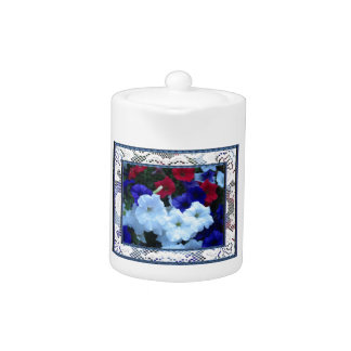 Patriotic Petunias and Lace Porcelain Teapot