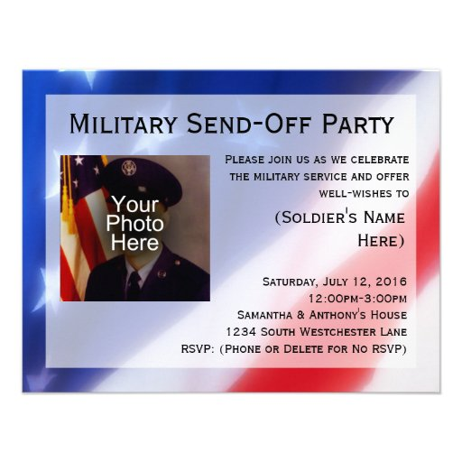 Patriotic Photo Military Send-off Party Invitation (front side)