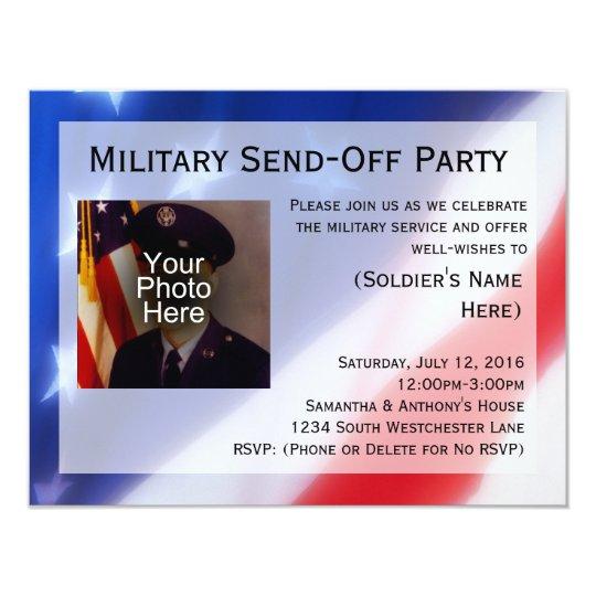 patriotic photo military send off party invitation zazzle com