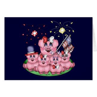 Patriotic Piggies Greeting Card