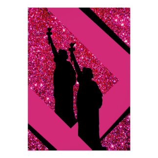 Patriotic Pink Statue of Liberty Sparkly Glittery Poster