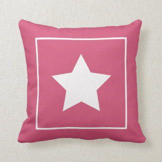 Patriotic Pink & White Star Pillow