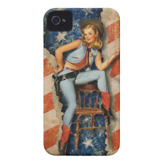 Patriotic PinUp CowGirl blackberry case