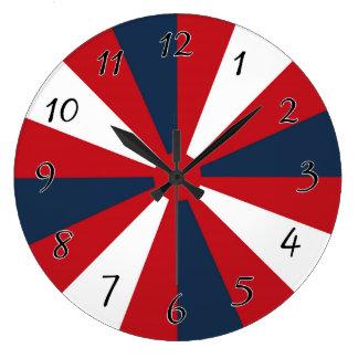 Patriotic Pinwheel Large Clock