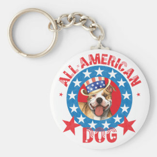 Patriotic Pit Bull Terrier Keychain