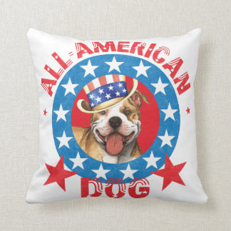Patriotic Pit Bull Terrier Throw Pillow