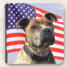 Patriotic pitbull dog beverage coaster