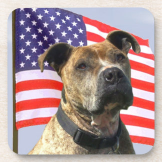 Patriotic pitbull dog beverage coaster