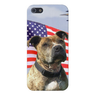 Patriotic pitbull dog iPhone SE/5/5s cover