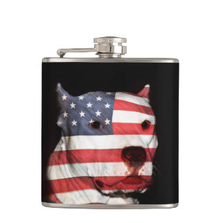 Patriotic pitbull flask