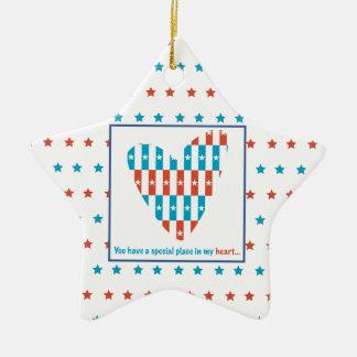 Patriotic Place In Heart, Support Encouragement Ceramic Ornament