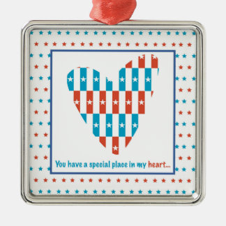 Patriotic Place In Heart, Support Encouragement Metal Ornament