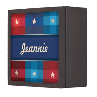 Patriotic Plaid Holiday Personalized Jewelry Box