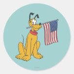 Patriotic Pluto Classic Round Sticker