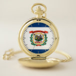 """Patriotic Pocket Watch Flag of West Virginia<br><div class=""""desc"""">Stylish and elegant pocket watch with flag of West Virginia, United States of America. This product its customizable. It contains 3 or more images so you can put them in a new order to create the design you want. Perfect as a Birthday gift, Christmas gift, Thank You gift, and more!...</div>"""