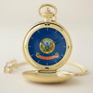 Patriotic Pocket Watch with Flag of Idaho