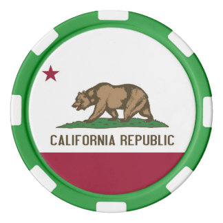 Patriotic poker chips with Flag of California