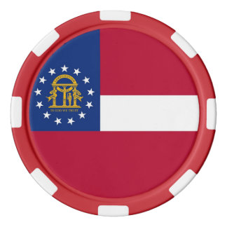 Patriotic poker chips with Flag of Georgia