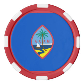 Patriotic poker chips with Flag of Guam