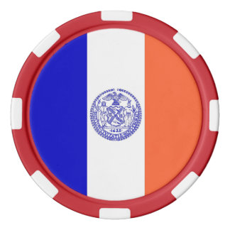 Patriotic poker chips with Flag of New York City