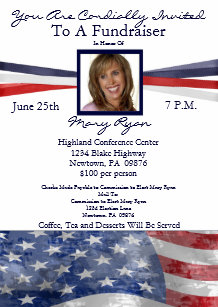 patriotic political fundraiser invitation w photo
