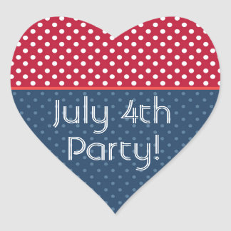 Patriotic Polka Dots Red White Blue RED Trim Heart Sticker