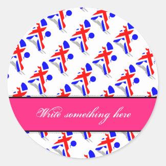 Patriotic Poodles Classic Round Sticker