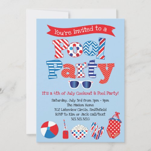 Patriotic Pool Party Invitation _ Red White Blue