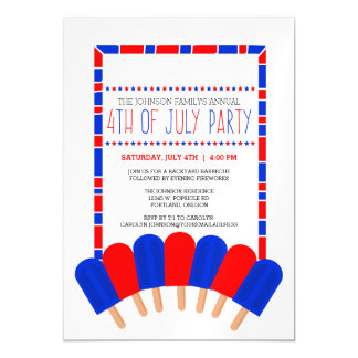 Patriotic Popsicles 4th of July Party Magnetic Card