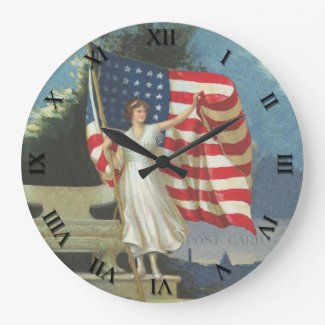Patriotic Post Card Clock - Lady Liberty