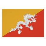Patriotic poster with Flag of Bhutan Perfect Poster