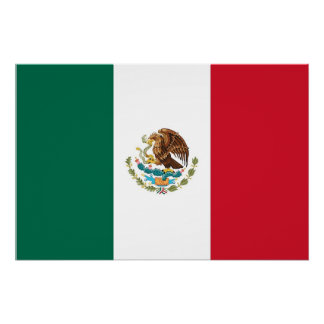 Patriotic poster with Flag of Mexico