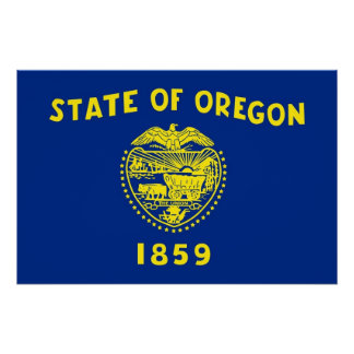 Patriotic poster with Flag of Oregon