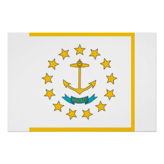 Patriotic poster with Flag of Rhode Island