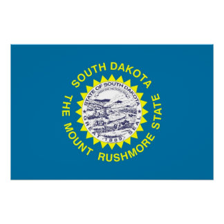 Patriotic poster with Flag of South Dakota