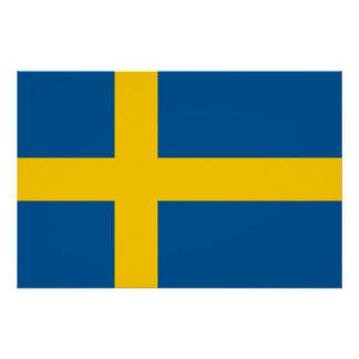 Patriotic poster with Flag of Sweden Perfect Poster