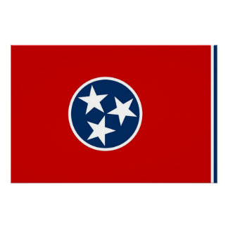 Patriotic poster with Flag of Tennessee