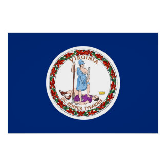 Patriotic poster with Flag of Virginia