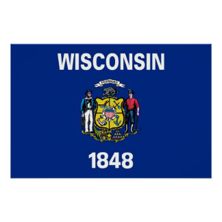 Patriotic poster with Flag of Wisconsin