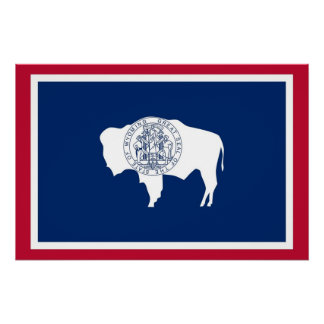 Patriotic poster with Flag of Wyoming