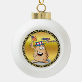 Patriotic potato with American hat and a USA flag Ceramic Ball Christmas Ornament