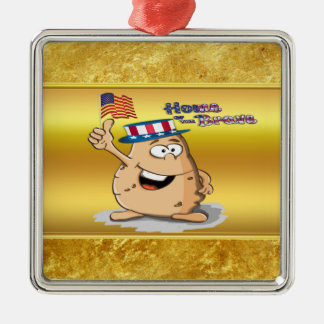 Patriotic potato with American hat and a USA flag Metal Ornament